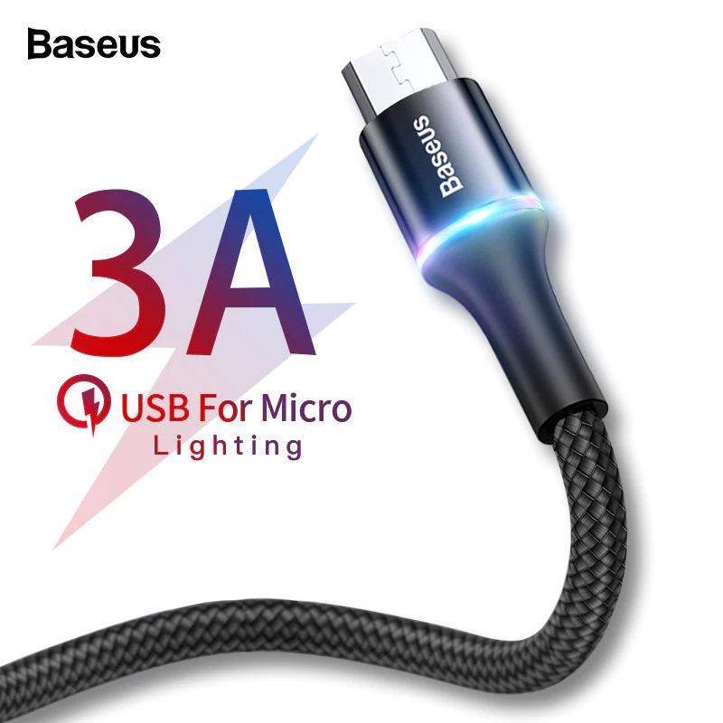 Baseus 3A Micro USB kábel RGB leddel - 200 cm hosszú, fekete színben - KÉSZLETRŐL!
