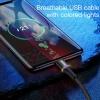 Baseus 3A Type-C USB kábel RGB leddel - 200 cm hosszú, fekete színben