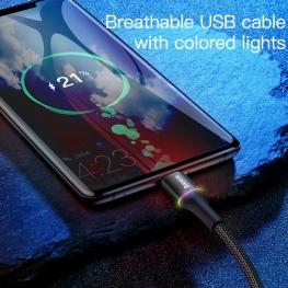 Baseus 3A Type-C USB kábel RGB leddel - 50 cm hosszú, fekete színben