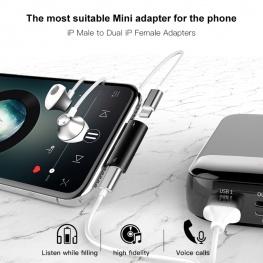 Baseus Apple Lightning USB elosztó - fekete színben